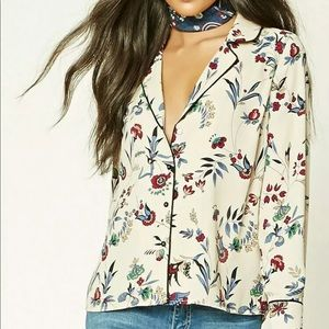 Forever 21 Floral Pajama-Style Button Front Blouse